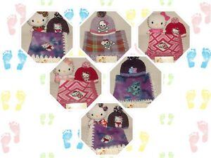 Preemie & Twin Girls 2 & 3pc Handmade Fleece & Crochet Blanket Set #5