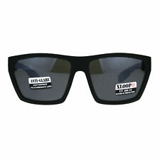 Mens Squared Rectangular Xloop All Black Sport Horn Sunglasses