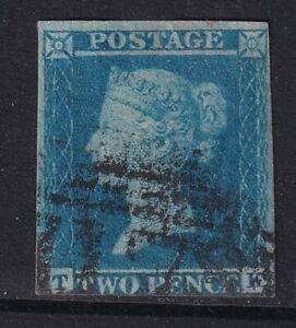 GB QV 1841 2d blue imperf SG14 - 3 margins - used