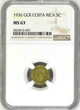 Costa Rica: 5 Centimos 1936 GCR, NGC MS-63, KM# 151, Brass