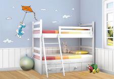 Wandtattoo Die Schlümpfe Drachenflug, 60x40cm Kinderzimmer Schlumpf, Smurf