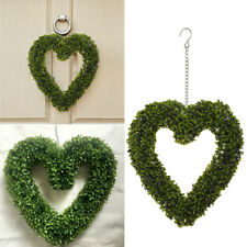 Boxwood Foliage Heart Artificial Topiary Wreath Trees Leaf Hanging Home Garden