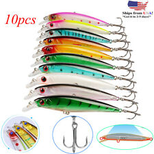 10pcs Fishing Lures Crankbaits Treble Hooks Randomly Baits Tackle Bass Minnow