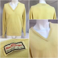 """Alan Paine Sweater L 44"""" Yellow 100% Wool V Neck Made In England Mint YGI 8860"""