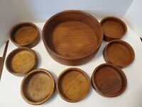 Vintage 8 Piece Wooden Salad Bowl Set