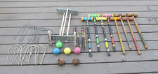 Vintage Croquet Wooden Set Backyard Family Games Wood Balls