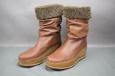Stuart Weitzman Short Faux Furry Boots Light Brown Tan Wedge Heel 10 M Spain