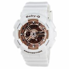 BA110-7A1 Women's Baby-G Rose Gold Dial White Resin Strap Chrono Watch G-Ghock