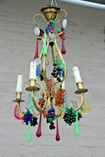 Murano Hand blown grapes flowers multi colour chandelier pendant 1960s