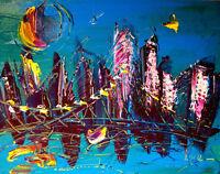 BLUE SKY CITY by Mark Kazav  Abstract Modern CANVAS Original Oil Painting