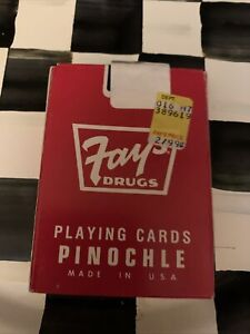 VINTAGE FAY'S DRUGS LIVERPOOL NY UNOPENED RED DECK OF PINOCHLE PLAYING CARDS