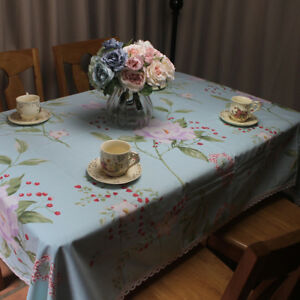 CURCYA Light Blue Floral Tablecloth Thick Canvas Flower Cotton Table Cloth Cover
