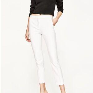 Zara White Cigarette Trousers