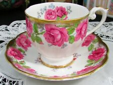 QUEEN ANNE LADY ALEXANDER ROSE PINK HEAVY GOLD TEA CUP AND SAUCER