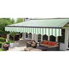 ALEKO Motorized Half Cassette Retractable Patio Deck Awning 10x8 ft Green/White