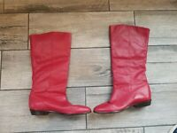 😁 Womens Red Leather Boots Womens Size 7 (Made In Uruguay hand made