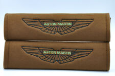 NEW Brown Aston Martin Embroidery Car Seat Belt Cover Shoulder Pads Pair