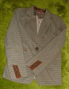 carmel brown check riding style jacket sz uk 12 new