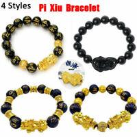 Feng Shui Black Plated Obsidian Alloy Wealth Bracelet Unisex Wristband Gold uh