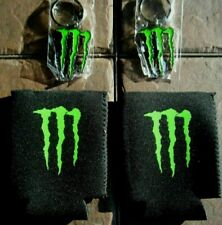 Monster Energy Diecut Metal (2)Claw Key Chain (2) Koozies  BRAND NEW!!
