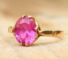 Vintage Ring 9ct Yellow Gold Created Ruby Solitaire Jewellery Jewelry 9ct Ladies