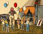 H Hargrove Painting Circus Clown with Children Serigraph Art Painting 8 x 10