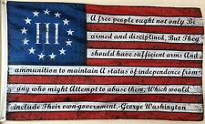 Three Percenter 2nd Amendment George Washington Flag Banner Blue 3x5 Feet