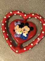 """Vintage Mickey Mouse Red Heart Minnie Baby Rattle Plastic Walt Disney 4"""""""