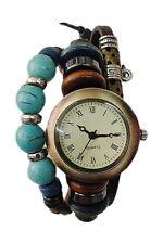 Women's Vintage Beads Bell Decoration Leather Bracelet Wrist Watch brown LW