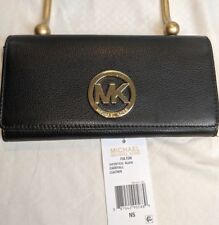 546f89bb988a Michael Kors NEW Black Gold Fulton Carryall Clutch Leather Wallet $148 (M)
