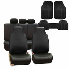 Highback Leather Car Seat Covers Full Set For Auto Black w/ Floor Mat