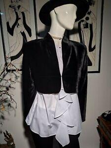 Vintage Victorian Riding Black Velvet Silk Jacket Cropped Bolero Shrug SZ 14