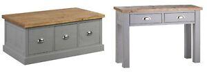 Coffee Table Console Display Draws Storage Handmade Wood Grey Silver Handles