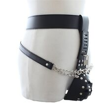 Faux Leather Male Men's Lockdown Chastity Belt Restraint Penis Cage Knickers