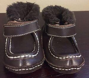 GENUINE KIDS OSHKOSH Toddler Boy's LEATHER FAUX FUR Boots BROWN Hook Loop SIZE 4