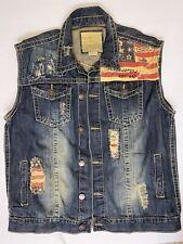 Smoke Rise Men's Size 2X-Large Pride Nation American Flag Denim Vest