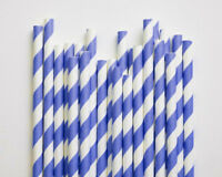 20 Biodegradable Paper Drinking Straws Blue Birthday Wedding Cafe Take Away Kids