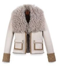 Tory Burch Gray Sylvia Embellished Fur Collar Shearling Jacket  Size:0 $2975 NWT
