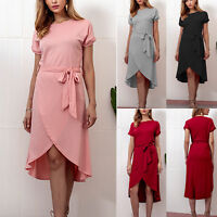 Womens Asymmetric Waist Belted Wrap Short Sleeve Holiday Summer Party Mini Dress