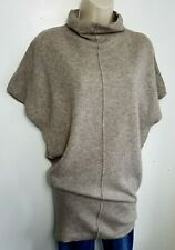 DEANE & WHITE 100% PURE CASHMERE JUMPER TUNIC S LOOSE BEIGE HIGH NECK  #04/17