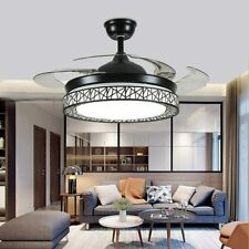 """42"""" Ceiling Fan Retractable Blades LED Crystal Chandelier Light Remote Control"""