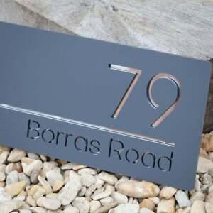 House Number Metal Sign Address Grey Sign Street Name Plaque 30cm x 15cm