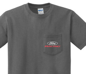 Pocket t-shirt men's Ford Racing pocket tee for men dark gray shirt
