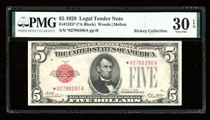 DBR 1928 $5 Legal STAR Fr. 1525* PMG 30 EPQ Serial *02798390A