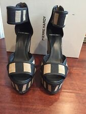 Pierre Hardy striped jute and leather Wedge sandals Size 37