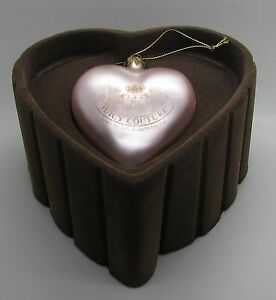 Juicy Couture Pink Heart Ornament Boxed Large Gold Tone Collectible In Box