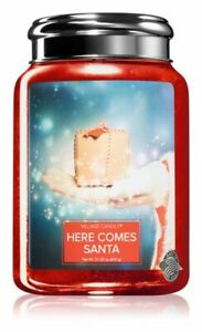 Village Candle Double Wick Large Candle Jar - Here Comes Santa