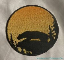 Embroidered Mountain Lion Cougar Sunset Silhouette Ombre Circle Patch Iron On