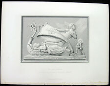 WINGED ANGEL TAKES DEAD BABY TO HEAVEN IN CRIB SHIP ~ 1879 Art Print Engraving