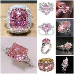 Fashion Women Jewelry 925 Silver Pink Sapphire Ring Wedding Engagement Size 6-10